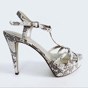 Off White & Taupe Snake Skin Platform Sandals